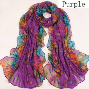 Spring purple floral lightweight scarf Easter